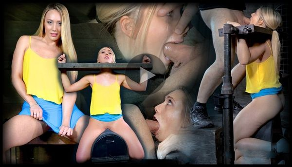 (17.03.2014) SB – Beautiful blonde AJ Applegate stuck in stocks, drilled down with brutal deepthroat, used hard!
