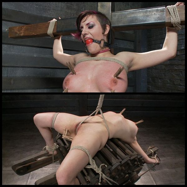 (07.05.2014) Young slut with huge natural tits gets destroyed by grueling bondage